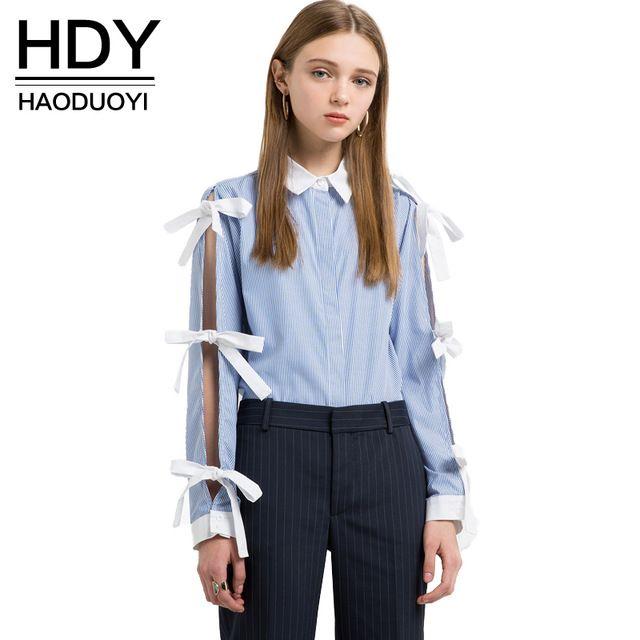 HDY Haoduoyi 2017 Мода Chic Лук Топы Женщины С Длинным Рукавом Женщины Свободные Рубашки Сладкий Полосатый отложным Воротником Дамы блузки