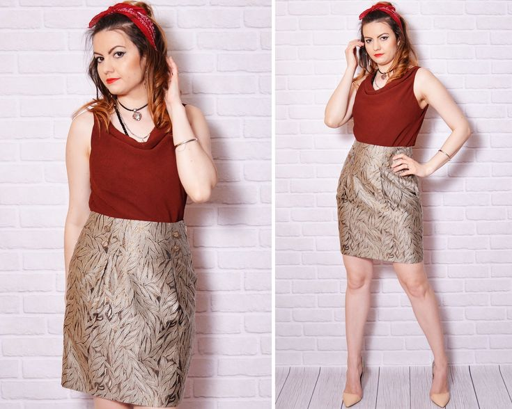 90s pencil skirt straight leaf pattern graphic print gold thread shiny fabric cocktail party sexy fitted slitted slit mini skirts http://etsy.me/2DZpomq #clothing #women #skirt #engagement #easter #gold #beige #llarge #90spencilskirt