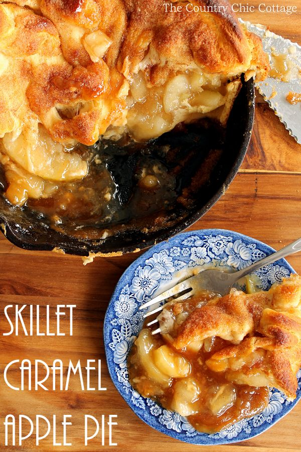 Make this skillet caramel apple pie recipe today! Uses crescent rolls as pie crust for an unexpected twist! So simple to make!