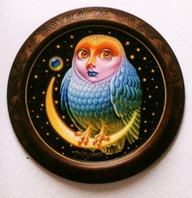 不苦労 Fortunate an owl 2002年「不苦労」 直径23cm 直径30cm木製円板・アクリル