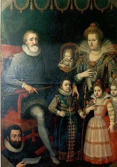 Henry IV of France, shown here with his second wife Marie de Medici and their children. He converted to Catholicism and his excommunication was reversed. He issued the Edict of Nantes, in 1598 confirming Roman Catholicism as the state religion but granting religious freedoms to Protestants. He was able to bring stability and prosperity back to France, even if only for a short time.