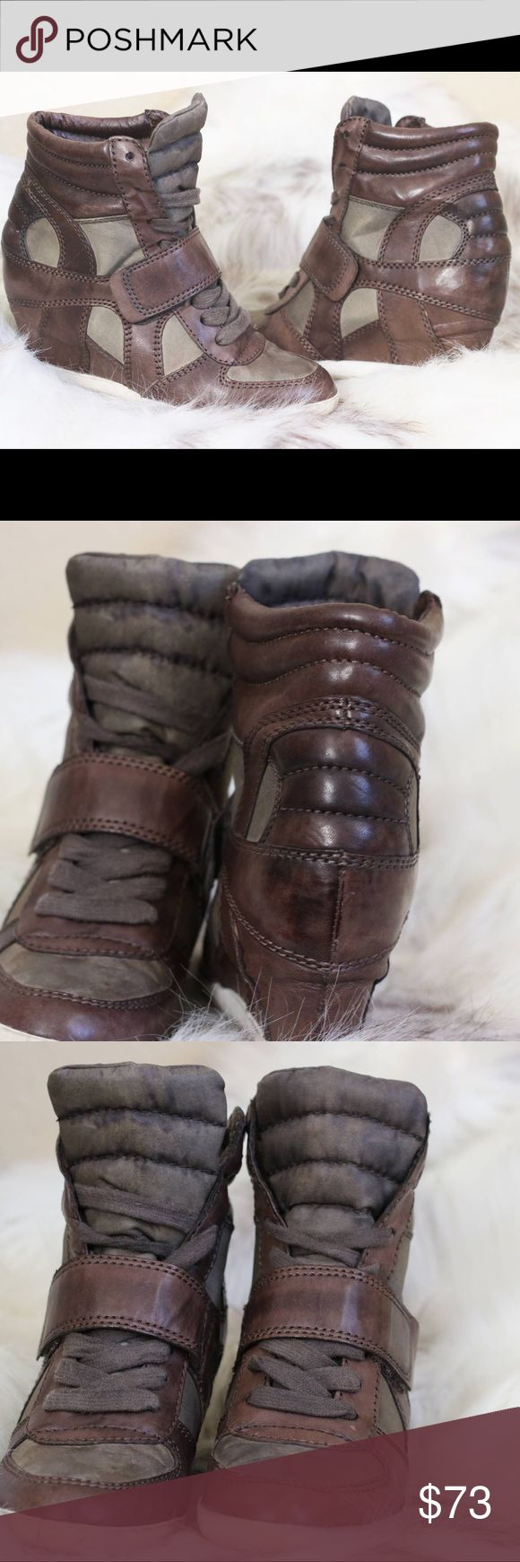 """ASH Sneaker Wedge Biba Leather Wedge Sneakers 6 Condition: Pre-owned  🎀Color: Green & Brown  🎀Heel Height 3"""" 🎀Round Toe  🎀Lace Closure  🎀Man made outsole Ash Shoes Wedges"""