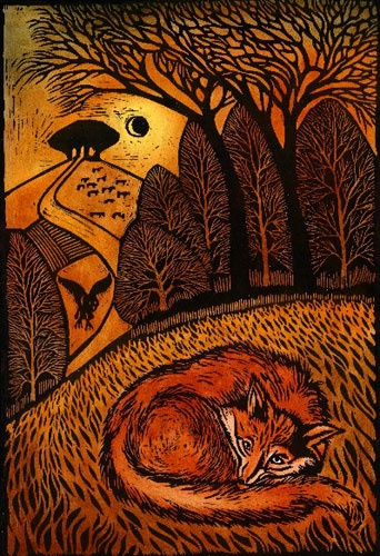 Resting Fox  Ian MacCulloch  Woodcut  45x31cm