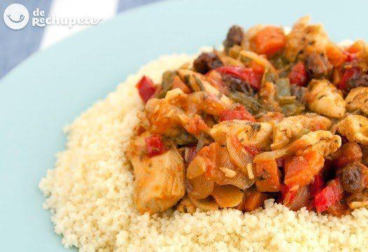 Cómo preparar cuscús con pollo y verduras. Receta exótica, tradicional y plato estrella en Marruecos, el Couscous (cuscús o cuscus). Paso a paso y fotos.