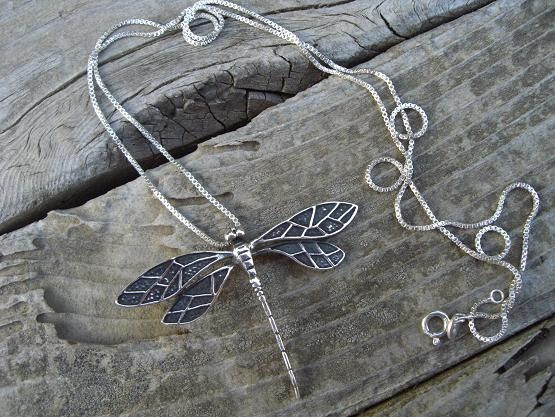 Dragon fly necklace in sterling silver by Billyrebs on Etsy, $59.00