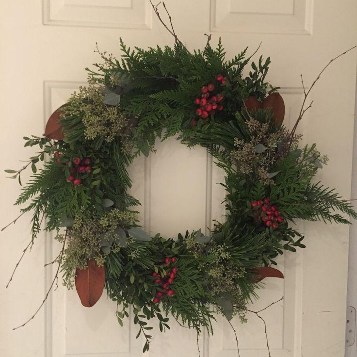 """Front Door Wreath, fresh hand tied mixed greenery. Designed by Sharlene Nielsen of Front Door Stories. (24"""" @ $65, 12"""" @ $45)"""