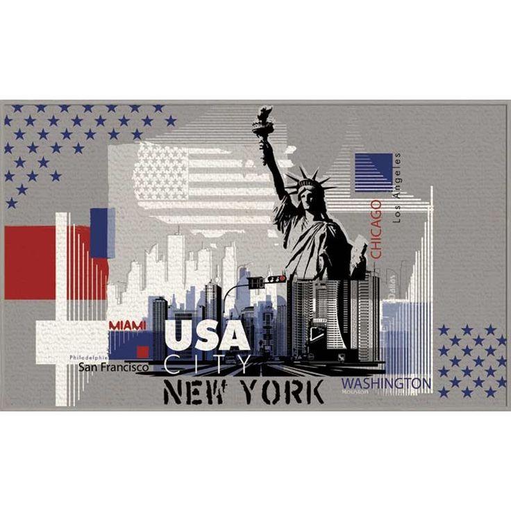 """Disponible sur Paris-Prix.com ! Tapis """"USA City"""" Gris 50X80 cm"""