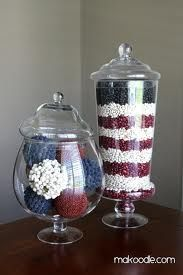 4th of July Decorations.......... red, white  blue in a jar!