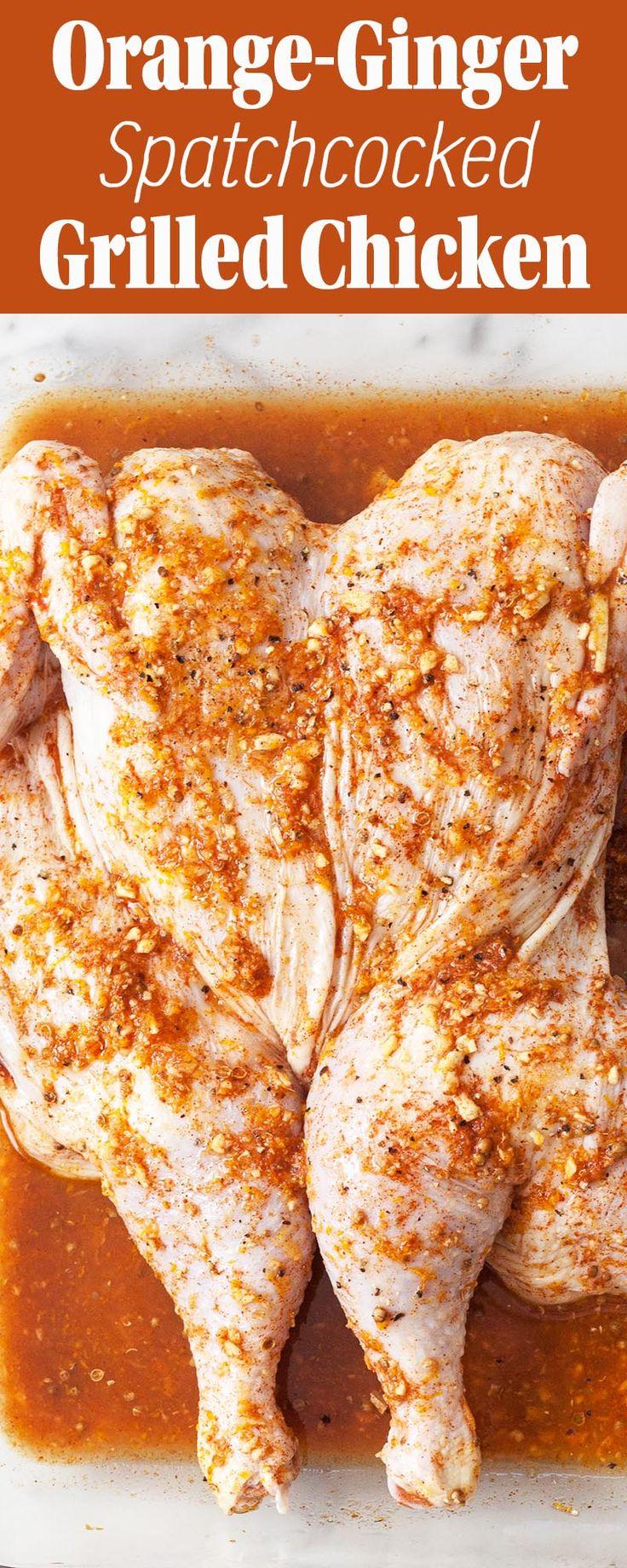 Orange-Ginger Chicken, spatchcocked and grilled!