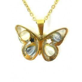 #Collar de acero dorado con #colgante de mariposa, no se pone feo ni da alergia, GARANTIZADO!!