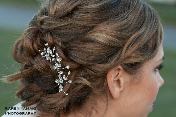 Create a customized hair accessory with this set of 3 rhinestone vine hair pins - place and shape them to the curve of your hair style...by One World Designs Bridal Jewelry