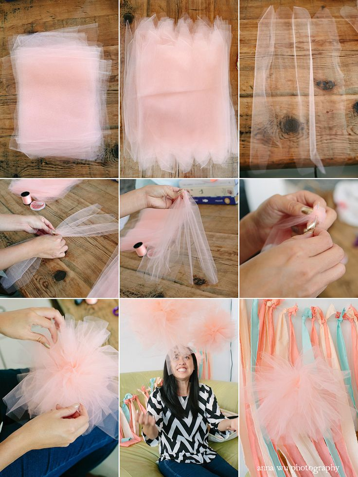 Tutu tulle pom pom tutorial great for a ballerina party or wedding.
