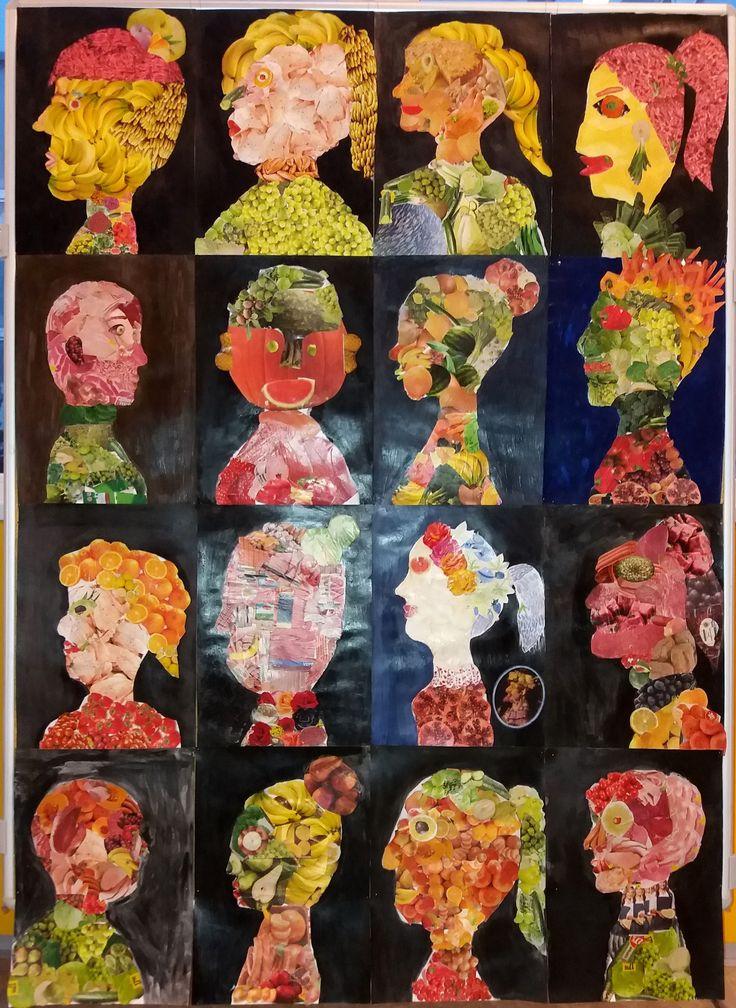 práce žáků 7. ročníku - Portrét podle Arcimbolda