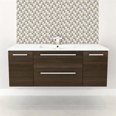 Wall Hung Vanity - MILK CHOCOLATE #vanity #drawers #sink #darkcabinets #darkwood #bathrooms #interiordesign #renovations #CutlerKitchenandBath