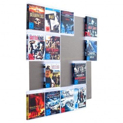 Schlichte Edelstahlwand zur Präsentation und Aufbewahrung von Blu-Rays #Blu-ray-Regal #Mediawand #CD-Wall #Ordnungshüter #Regalsystem #Aufbewahrung #Blu-Ray