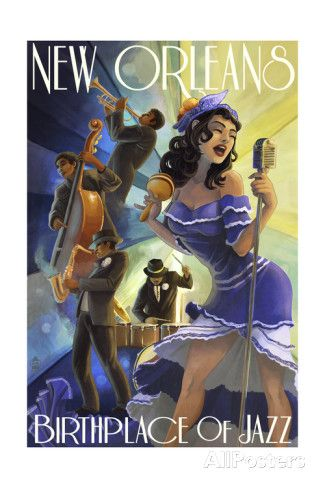 Jazz Scene - New Orleans, Louisiana Posters by Lantern Press at AllPosters.com