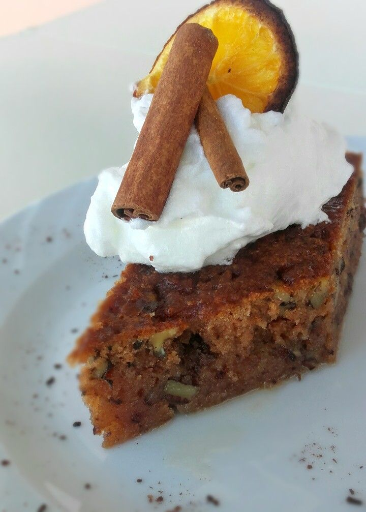 The real Greek walnut cake. Very sweet and full of warm flavors. Cinnamon, cloves ,brandy, make this a heavenly delicious sponge cake recipe.