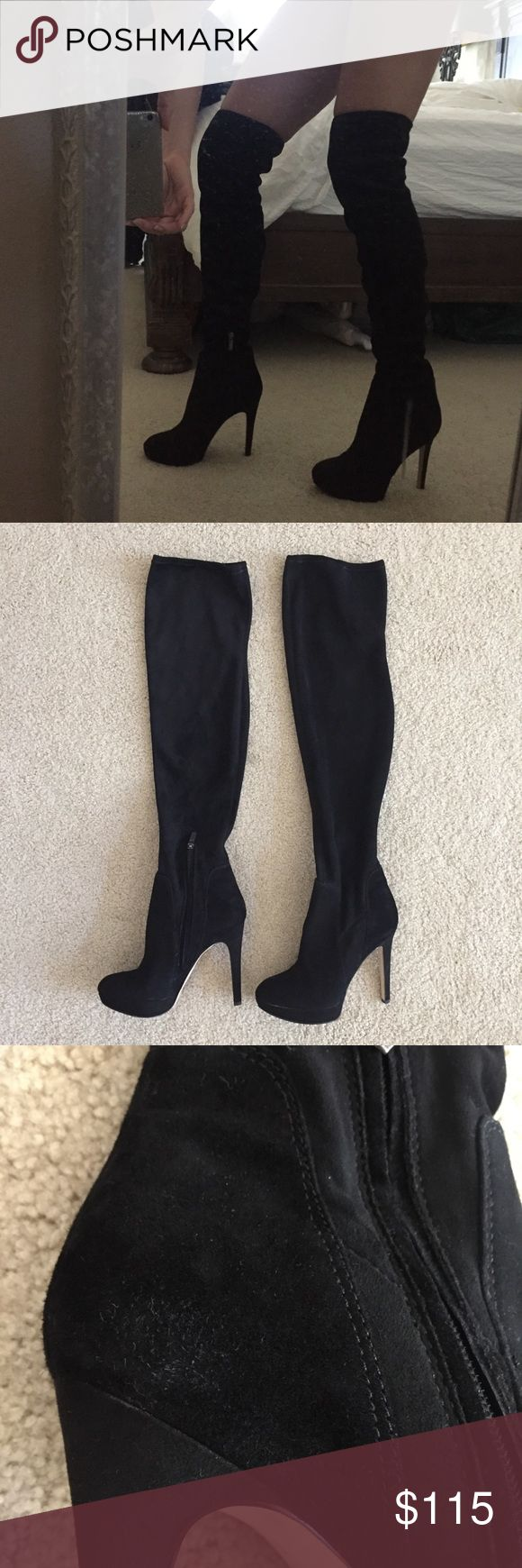 Sam Edelman over the knee boots sexy black 7 suede Amazingly sexy!  In overall good condition, small fuzzy spot on inner left heel and scratch on toe of left heel, see photos. See photos for measurements too. Very stretchy suede material. These will best fit a larger calf size. My calf measures 13 inches around, they're a little too baggy on me. (Style is supposed to be a little baggy they will work best for someone who has larger than 13 inch calves.) Looks HOT paired with a mini skirt! ;-)…
