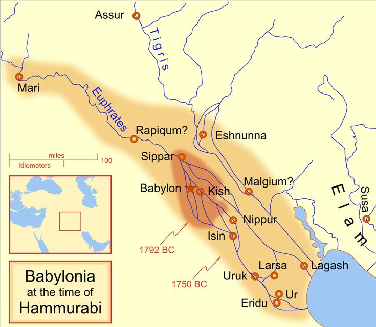 The Extent Of The Babylonian Empire At The Start And End Of Hammurabi S Reign Mesopotamie Ancienne Histoire Histoire Ancienne
