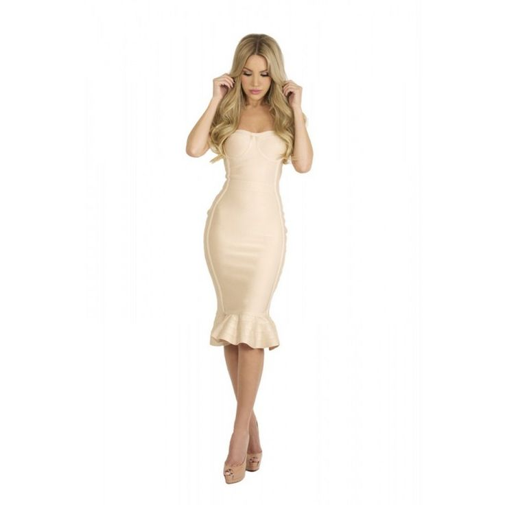 >> Click to Buy << 2017 new style women sheath strapless beige summer elegant bodycon dress ruffles off shoulder party bandage dresses wholesale #Affiliate