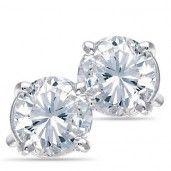 14K White Gold, Diamond Solitaire Earrings, 1/4 ctw. 50% OFF!