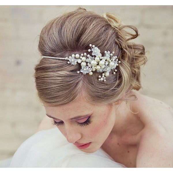 Wedding Hair, Rhinestone tiara with flowers and ivory pearls, wedding tiara found on Polyvore