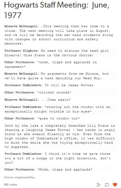 james and lily - hogwarts staff meeting and an overly invested Dumbledore. Love it!