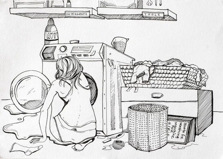 How do girls fix a washing machine?
