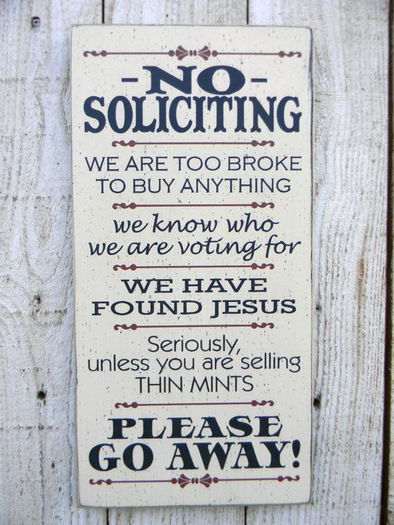 No Soliciting  sign - typography wood sign. $26.00, via Etsy.