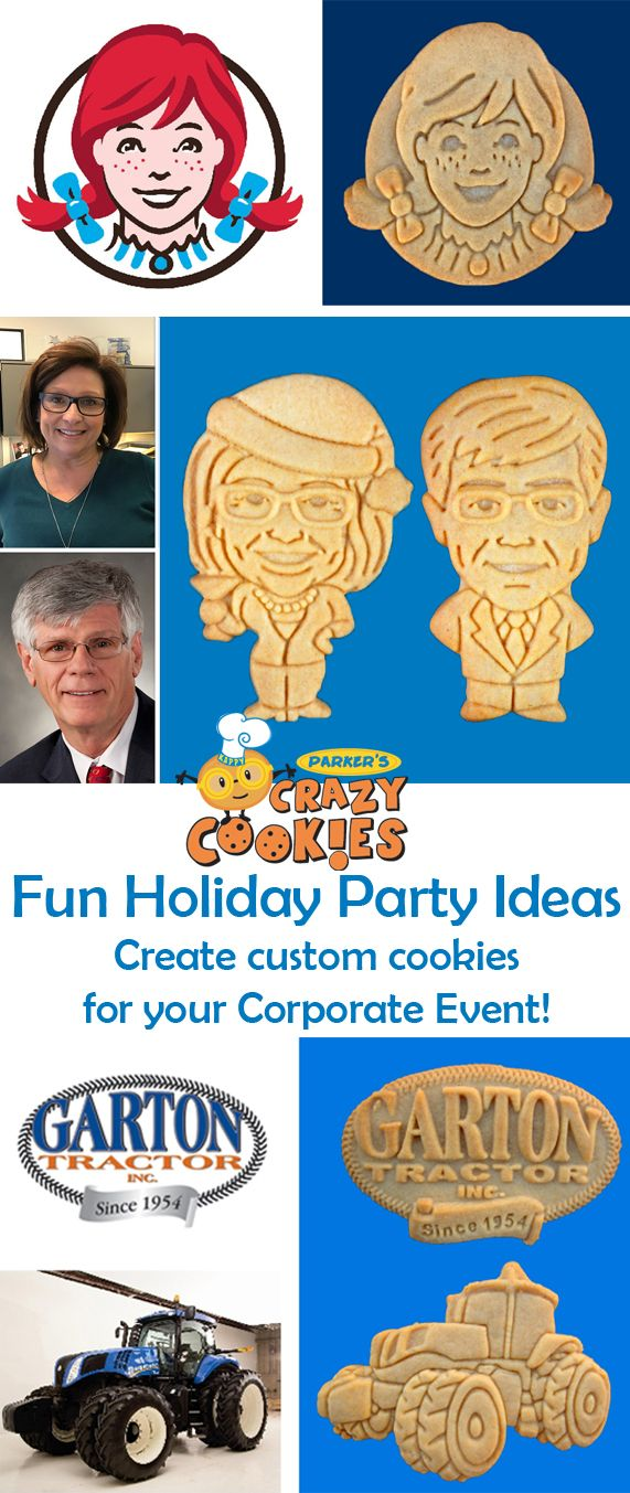 Unique Office Party Ideas!! Create a custom cookie of your boss, your employees, your product or just your logo for your Holiday Event!! Discover the magic at www.parkerscrazycookies.com. As seen on the Food Network and Today Show!