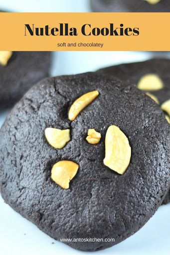 Nutella cookies - Soft, fudgy and chocolatey cookies. #antoskitchen #nutella #cookies