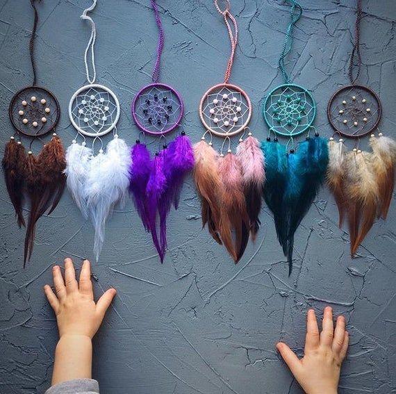 decorative mirrors decoration Dream catcher Dreamcatcher mirrors purple feather car feather car Dreamcatcher