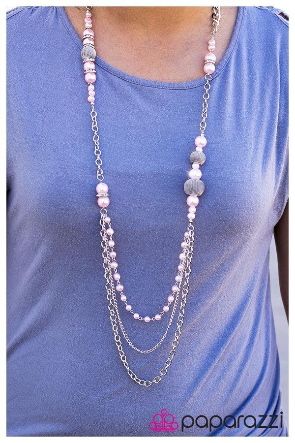 Extra long chunky silver chain with silver mesh balls and pink beads with a pearly shimmer scattered throughout. A short string of pink pearls and a dainty chain add dramatic length and style.  Sold as one individual necklace. Includes one pair of matching earrings.