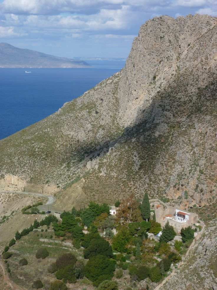 Looking down towards the monastery of Ayios Panteleimonas, late November 2015 - Nisyros and Kos visible in background