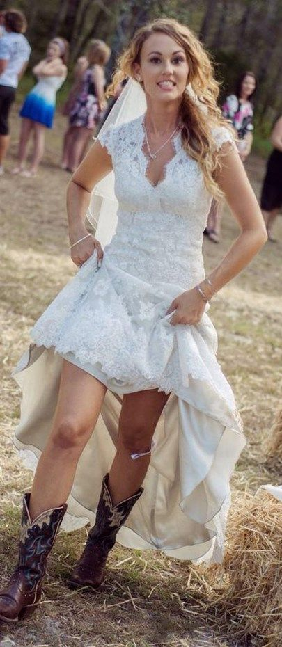 Pretty rustic western wedding dress, perfect for a country marriage. Let's get out the cowgirl in you wearing this beautiful High-low Lace Summer Country Wedding Dress. Learn more at http://www.cutedresses.co/go/High-low-Lace-Summer-Country-Wedding-Dress - white halter dress short, online dress shopping, blue dresses for women *ad