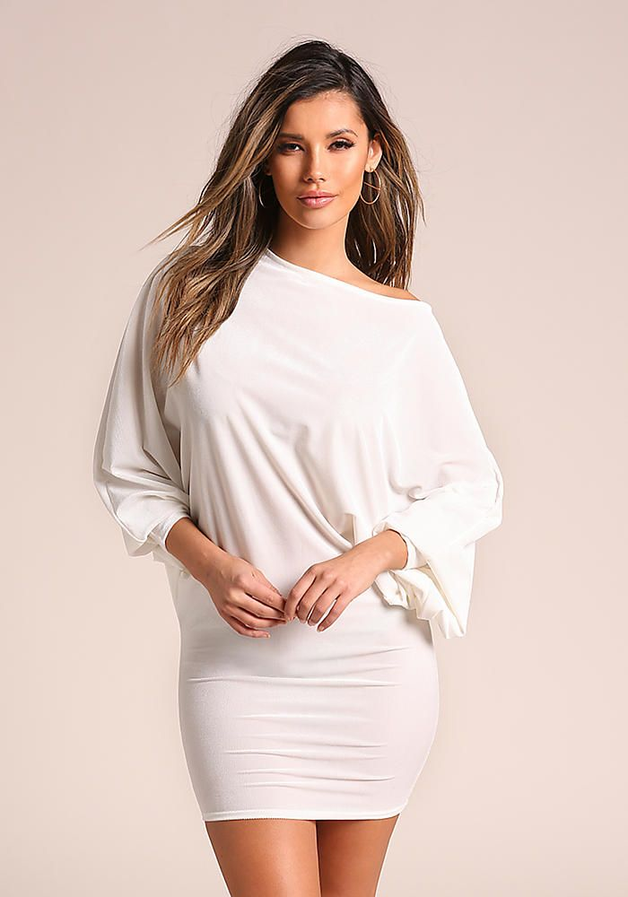 08524202286 Ivory Velvet Dolman Bodycon Dress - Dresses   Love Culture l This ...