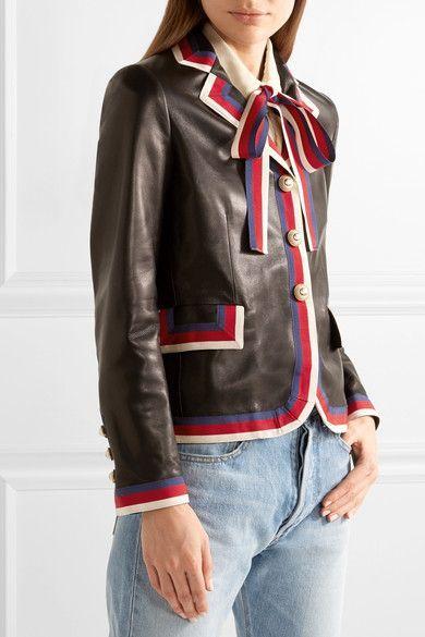 Gucci - Grosgrain-trimmed Appliquéd Leather Blazer - Black - IT42
