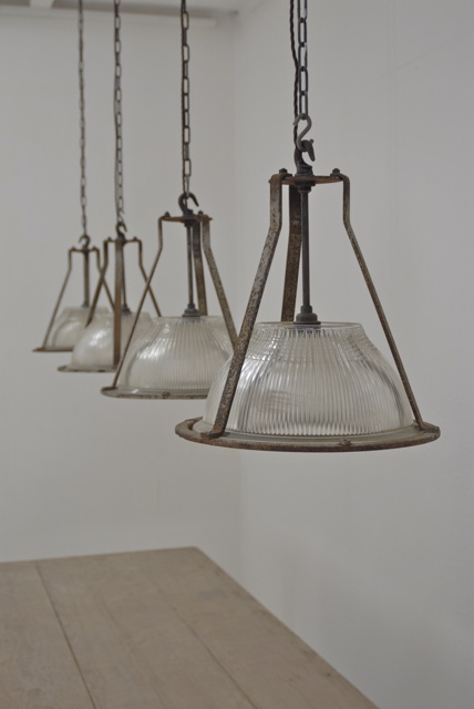 A Set of 4 1930`s Holophane Lights - idea of style for breakfast bar