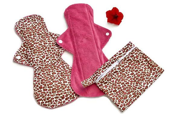 Set of 2 Minky Cloth Pads and Wet Bag/ Overnight Cloth