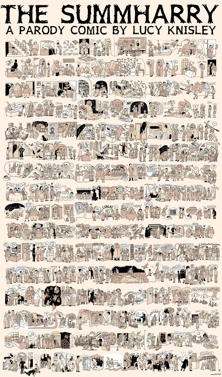 All of Harry Potter summed up in one comic... <3Summary, Harry Potter Series, Harrypotter, Harry Potter Illustration, Book Covers, Harry Potter Books, Summharry, Comics, Lucy Knisley