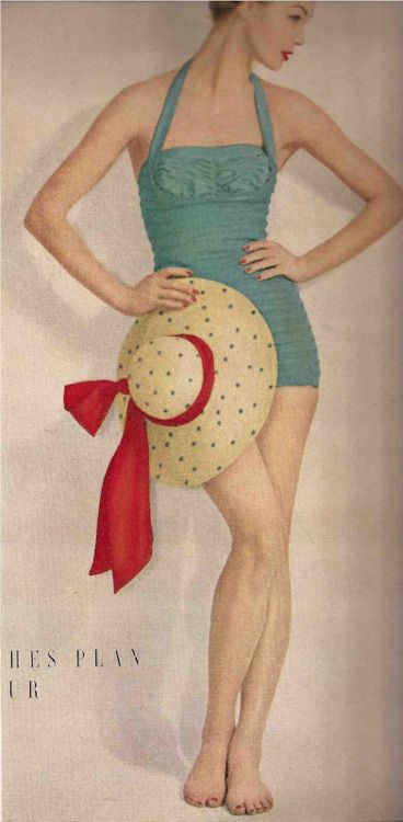 vintage. I love the style, the polka dots, and the colors!