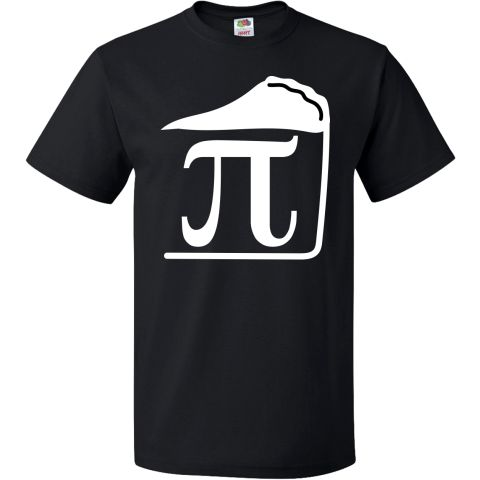 Pi Day T-Shirt has funny pi symbol math design in a slice of pie logo, great for a Pi Day party.  www.personalizedteachershirts.com