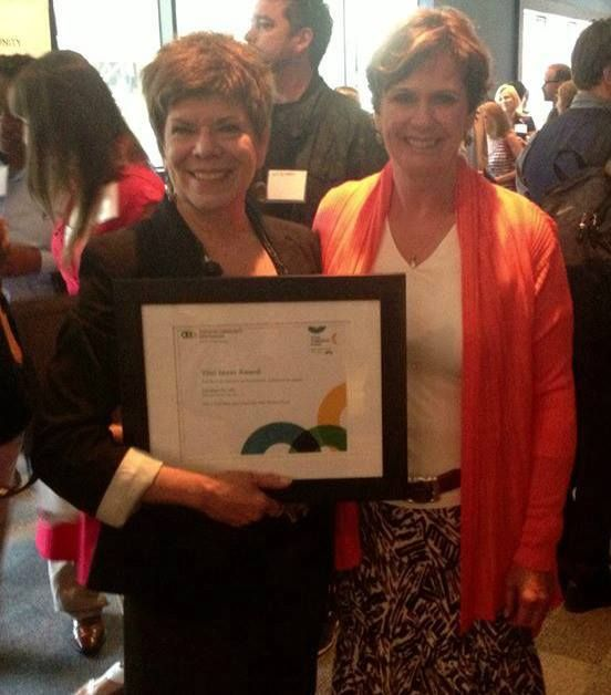 Founder Jo Altilia and Sue Bell, Literature for Life Board Chair, received the Vital Ideas grant from the Toronto Community Foundation.