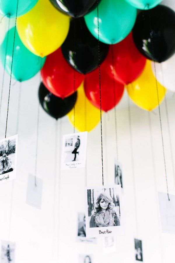 Grad party decorations -- could hang balloons the other way and tape them on the ceiling.  That way you can do it ahead of time.