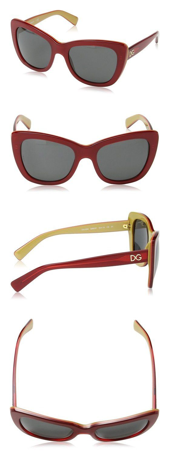 $103.3 - D&G Dolce & Gabbana Womens 0DG4260 Cateye Sunglasses Top Red Over Gold/dark Grey gold #dolceegabbana
