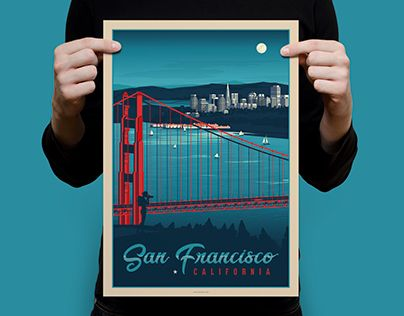 """Check out new work on my @Behance portfolio: """"SAN FRANCISCO Vintage Travel Poster"""" http://be.net/gallery/50597451/SAN-FRANCISCO-Vintage-Travel-Poster"""