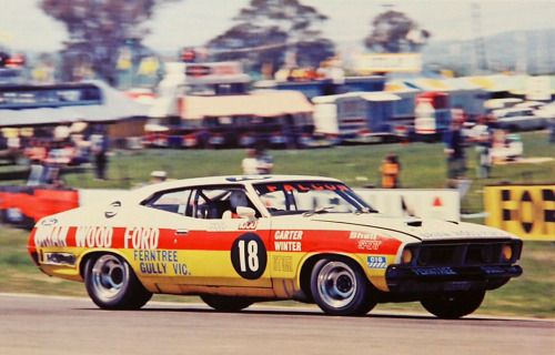 Carter pictured in his Ford Falcon XB GT351 Hardtop/Coupe at Hell Corner, Bathurst in 1975. He was 2nd in the ATCC that year in this car, the title won by Colin Bond in a Holden Torana LH SLR5000/L34 5 litre V8. At Bathurst he shared his car with Ray Winter, a very quick F2 driver, Murray qualified the car 7th but DNF after only 53 laps. Brock and Brian Sampson, another driver who has raced until a road accident put paid to his racing, forever, won in an L34 Torana