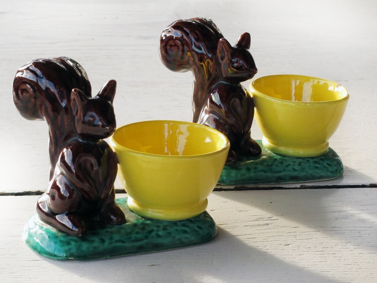 1 cute squirrel egg cup,VALLAURIS Ceramic glazed, Salt and Pepper, Mid Century French Riviera Decor, Stamped. $29.00, via Etsy.