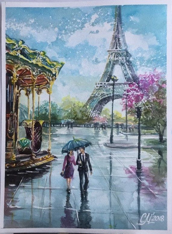 Paris Watercolor Painting Rainy Street Paris Painting City