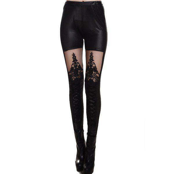 Fashionable Black Stretchy Mesh Splicing Leggings For Women, BLACK, ONE SIZE in Leggings   DressLily.com